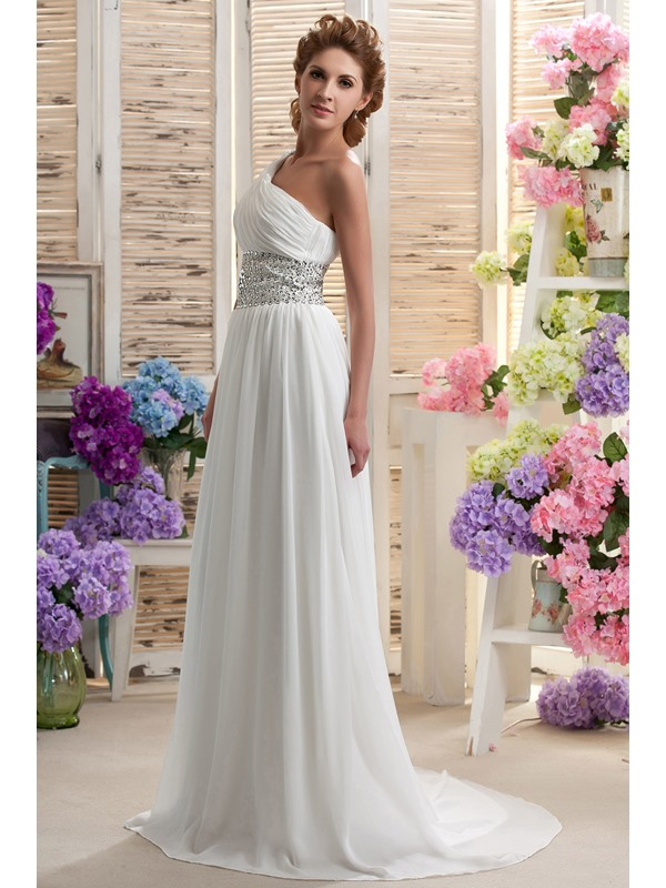 Amazing Chapel Empire Floor-length One-shoulder Beaded Nastya's Wedding Dress