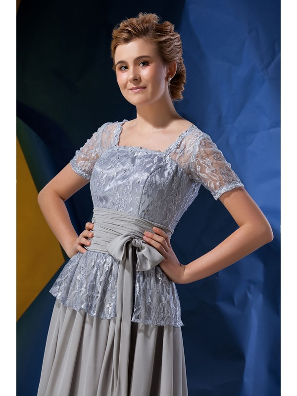 Classic Princess Square Neckline Short Sleeves Knee-Length Alina's Mother of the Bride Dress