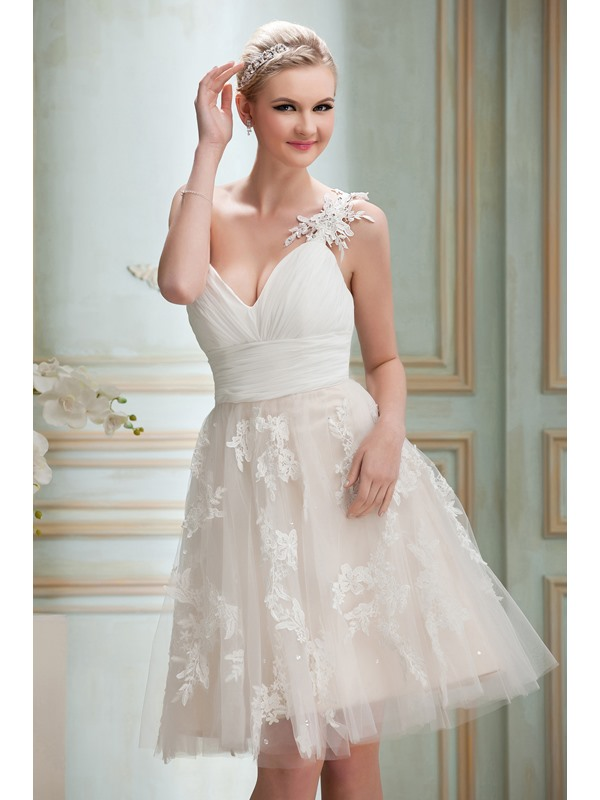 Gorgeous A-Line Knee-Length One-Shoulder Appliques Yana's Homecoming Dress