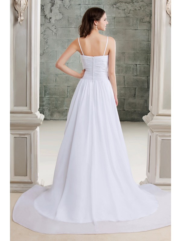 Concise Spaghetti Straps Ruched V-Neck Floor-Length A-Line Beach Wedding Dress
