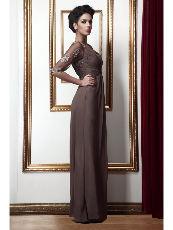 Gorgeous A Line Empire V-Neck Floor-Length Taline's Mother of the Bride Dress