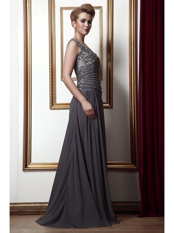 New Style Beading A-Line V-Neck Floor-Length Alina's Mother of the Bride Dress With Jacket/Shawl