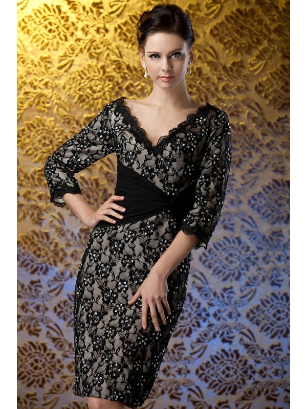 Charming Appliques/Lace Sheath V-Neck 3/4-Sleeves Knee-Length Polina's Mother of the Bride Dress