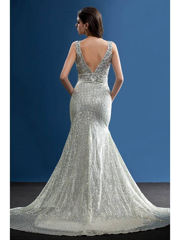 Fabulous Straps Sequins Beading Mermaid Court Train Taline's Long Evening Dress