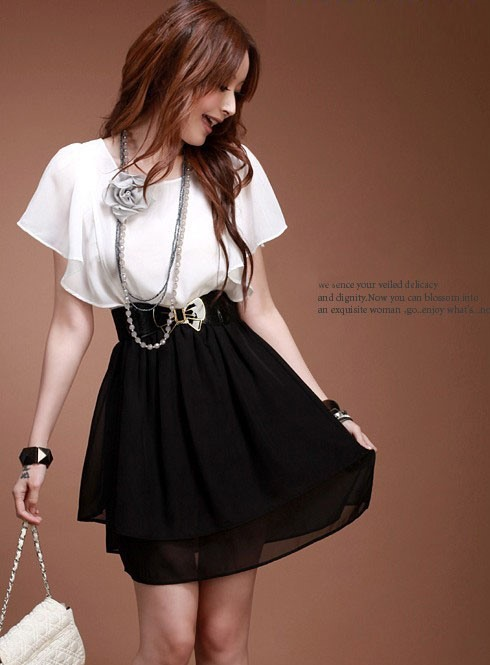 Hot Selling Fashion Split Joint Falbala Sleeve Chiffon Dress