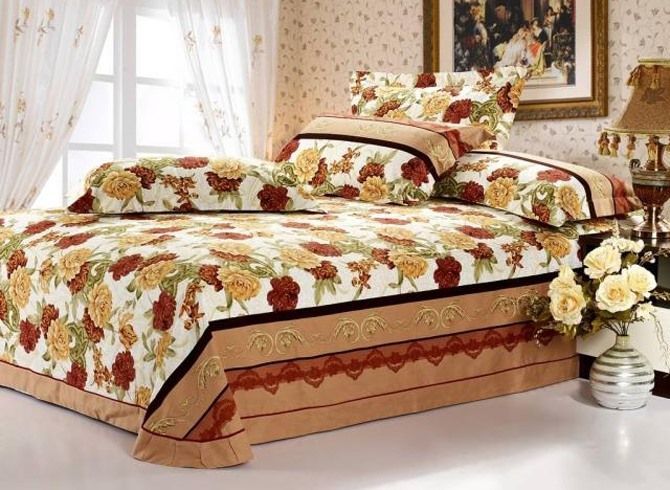 Yellow and Brown Flowers Thicken Cotton Brushed 4 Piece Bedding Sets