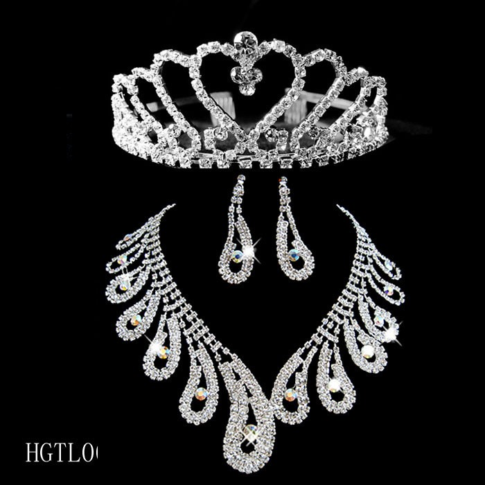 Amazing Diamond Wedding Bridal Tiaras &Jewelry Sets- (Including Necklace,Earrings)