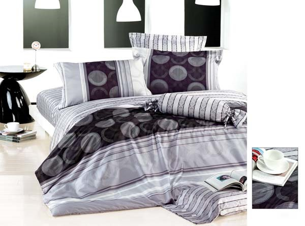 Classic Striped White Cotton Printing 4 Piece Bedding Set