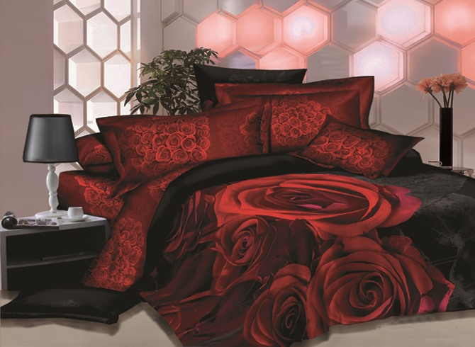 Unique Red Rose Printed 4 Piece Sets House Bedding Sets(Free Shipping)