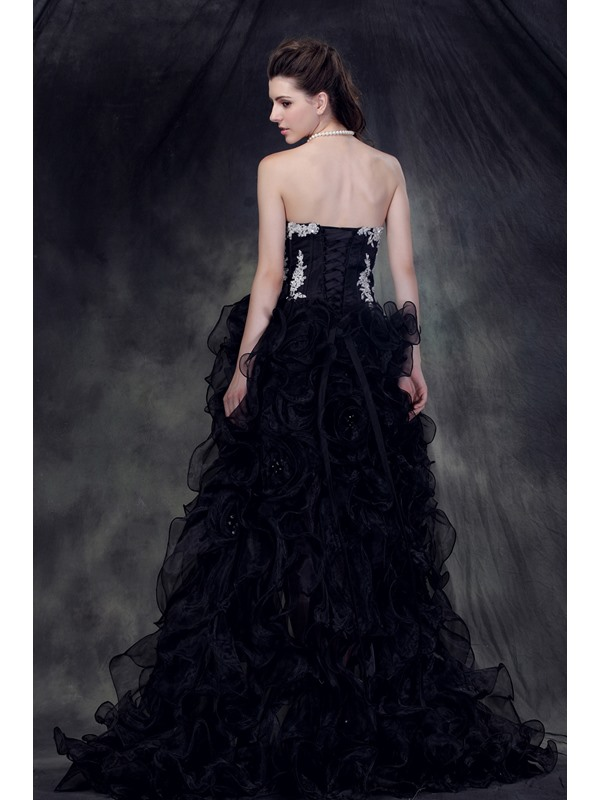 Glamorous Sweetheart Asymmetry Appliques Lace-up Anderai's Evening Dress