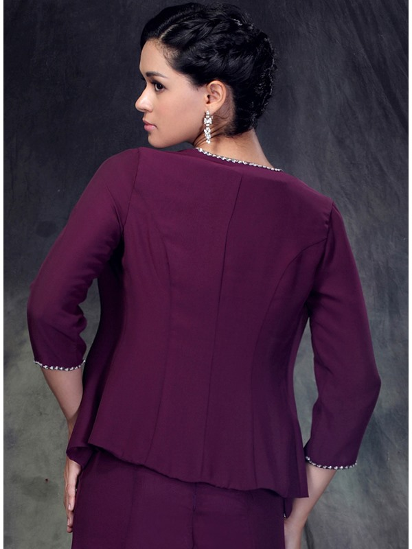Faddish 3/4 Sleeve Length Purple Jacket with Floral Edging