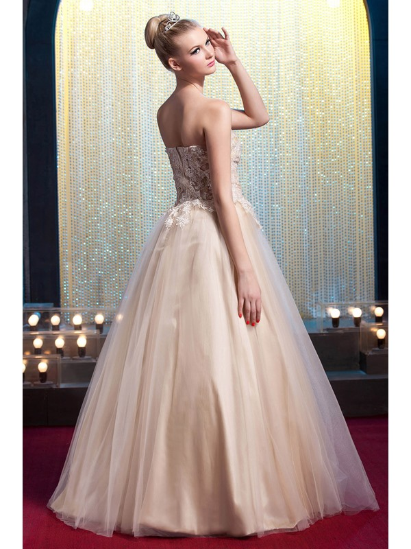 Glamorous Strapless Floor-Length Appliques A-Line Yana's Prom/Quinceanera Dress