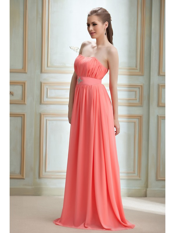 Charming A-Line Strapless Beading Sleeveless Floor-Length Nadya's Bridesmaid Dress