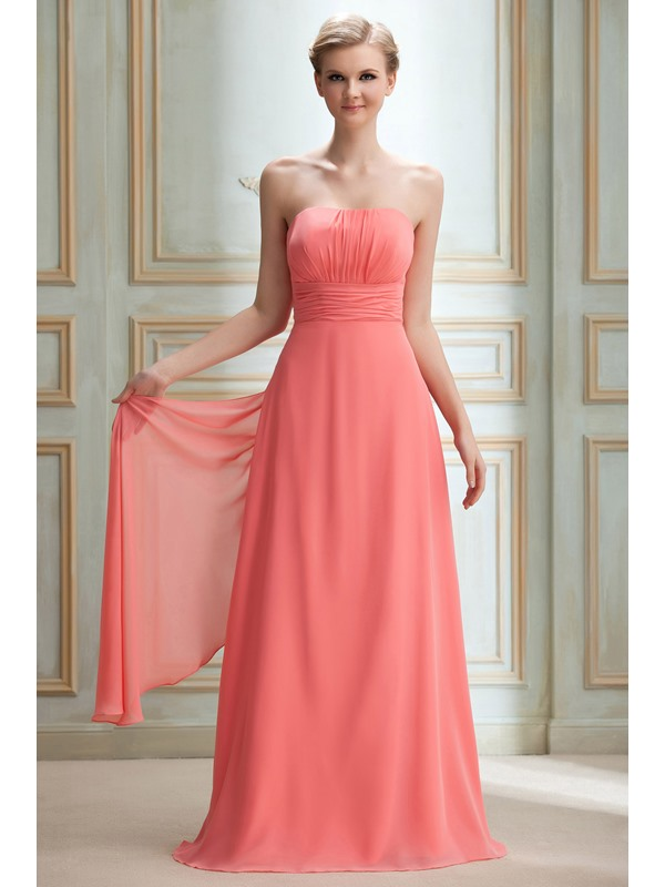Cheap A-Line Sashes/Ribbons Strapless Pleats Floor-length Yana's Bridesmaid Dress