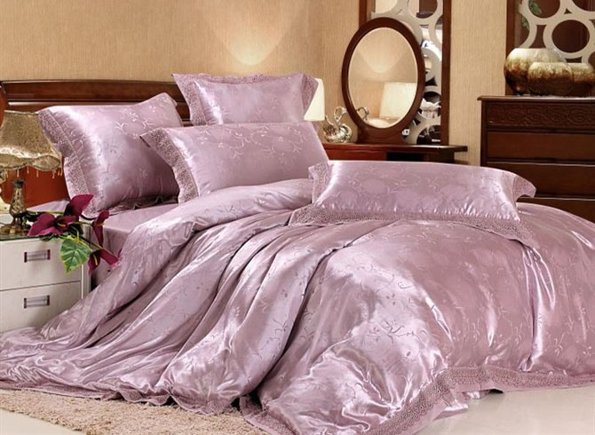 6 Piece Comforter Bedding Sets with Pink and Purple Pattern