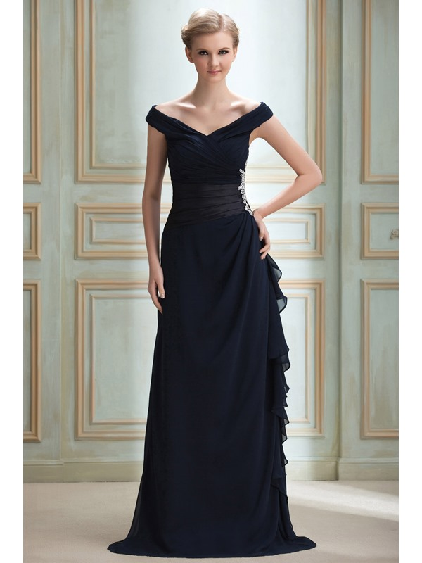 Timeless Off-the-Shoulder V-Neck Appliques A-Line Yana's Long Evening Dress