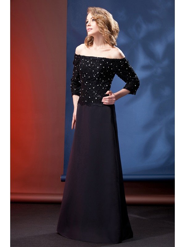 Hot Black Off-the-Shoulder Long Sleeves Daria's Party/Formal Dress