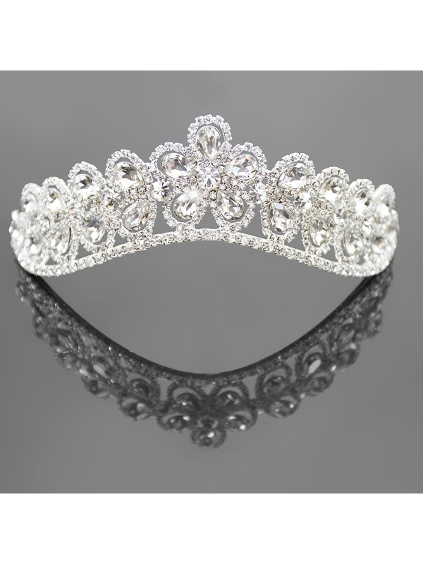 Glamorous Flower Shaped Alloy with Rhinestone Wedding Tiaras