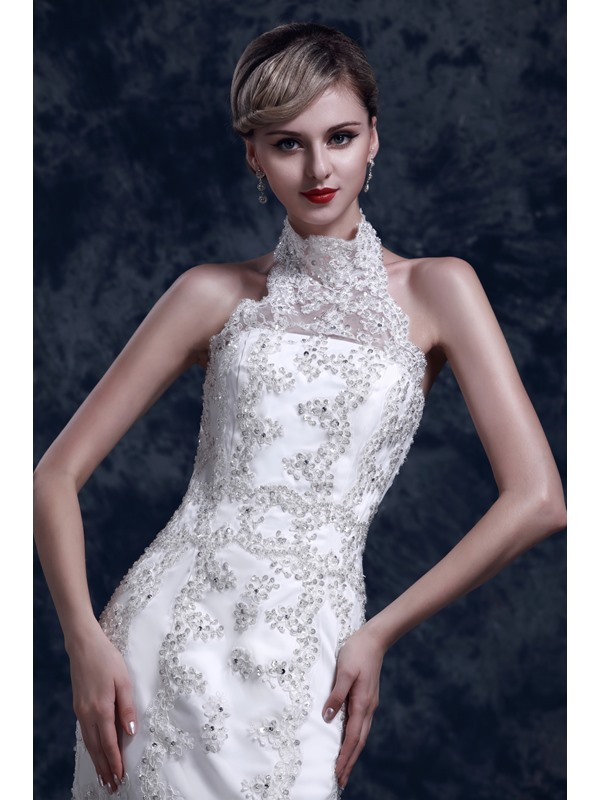 Gorgeous Lace Trumpet/Mermaid High-Neck Chapel Dasha's Wedding Dress