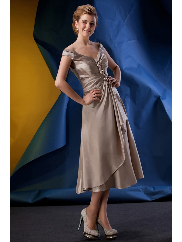 Classic Beaded Ruched A-Line Off-the-Shoulder Tea-Length Alina's Mother of the Bride Dress