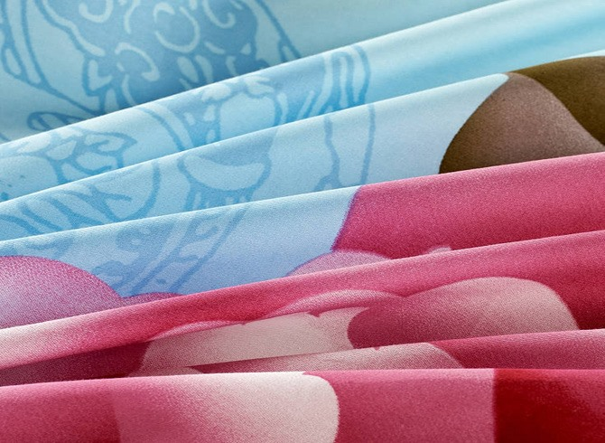 Blue 4 Piece Cotton Bedding Sets with Pink Peony