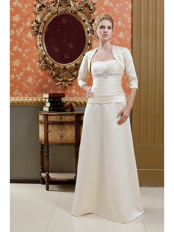 Delicated Sheath/Column Strapless Floor-Length Veronika Valentinova's Mother of the Bride Dress With Jacket/Shawl