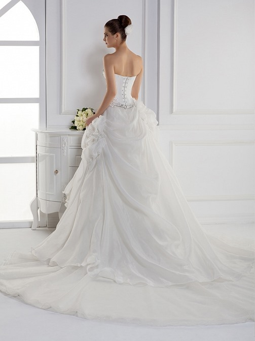 Dramatic Ball Gown Sweetheart Floor-length Cathedral Train Flowers Wedding Dress