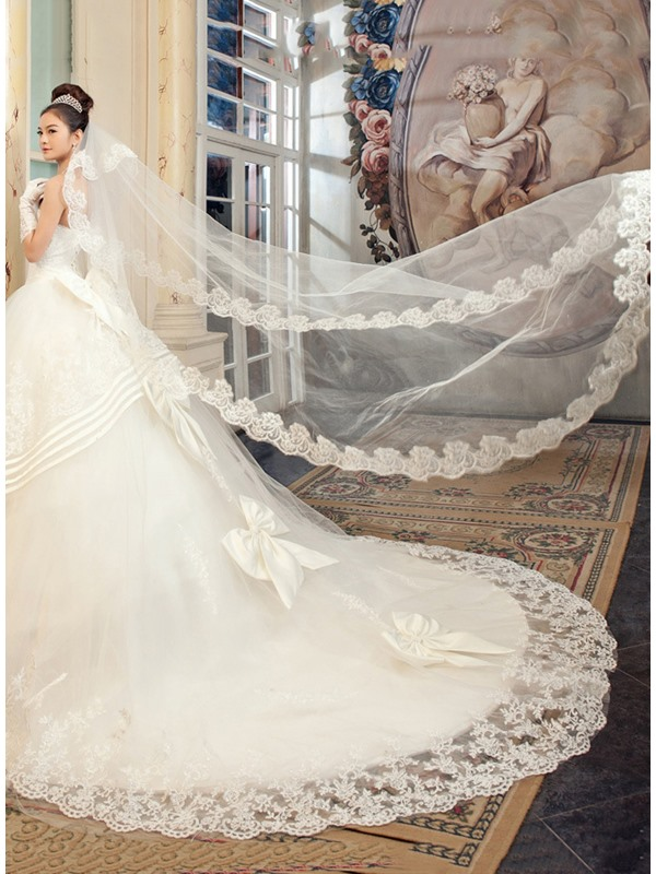 Fabulous Cathedral Length White Tulle Wedding Veil