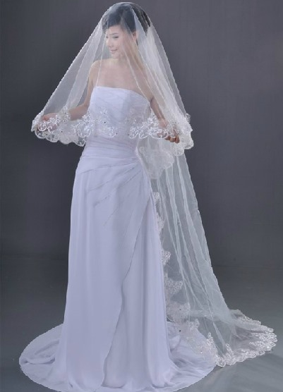 Chapel Wedding Bridal Veil with Lace Applique Edge