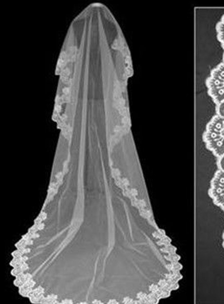 White Tull With Lace Cathedral Length Wedding Veil