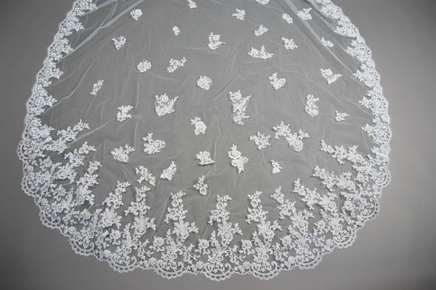 Gorgeous Cathedral Length White Applique Wedding Bride Veil (do not contain Comb )
