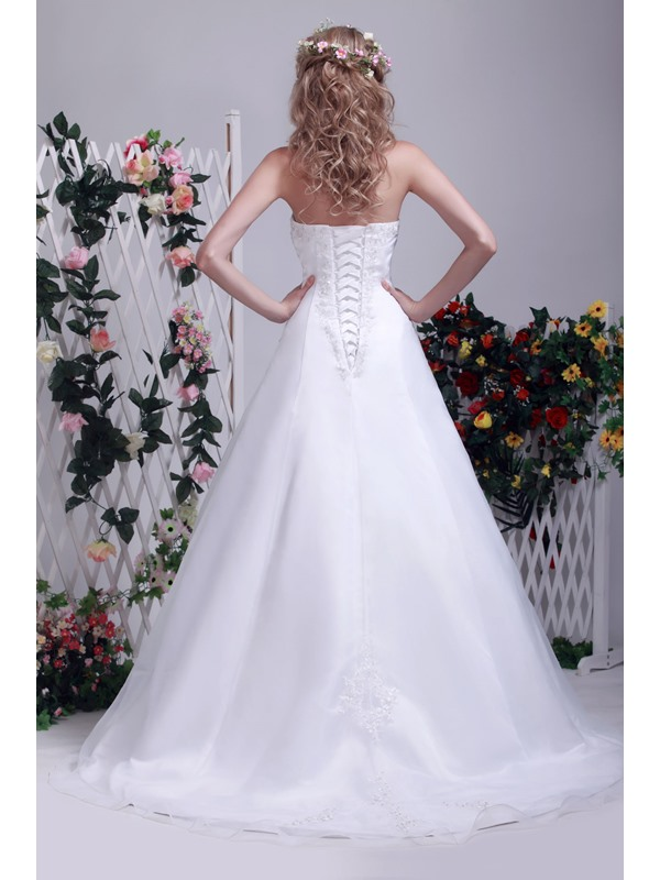 Sophisticated Summer Strapless A line Appliques Chapel Train Dasha's Wedding Dress