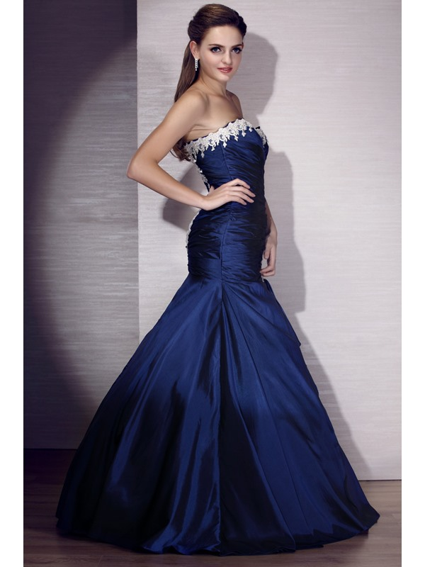 Vintage Sweetheart Mermaid Floor-Length Appliques Lace-up Evening Dress
