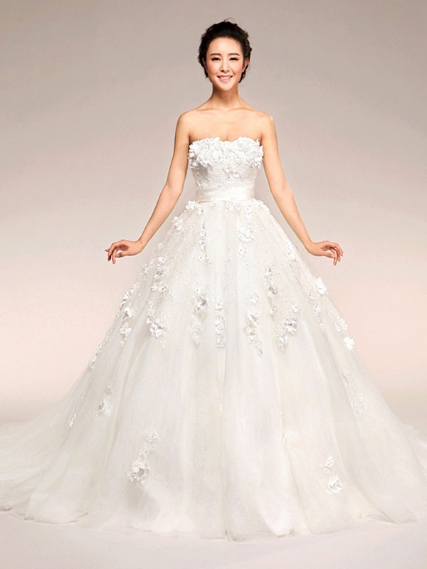 Charming A Line Strapless Flowers Sashes Bowknot Court Train Maternity Wedding Dress