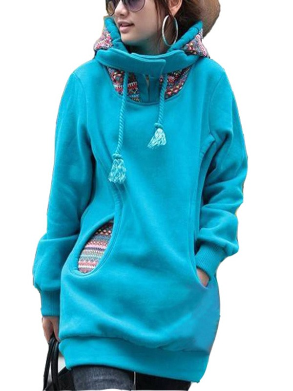 New Long Sleeve Solid Color Thick Hoodie
