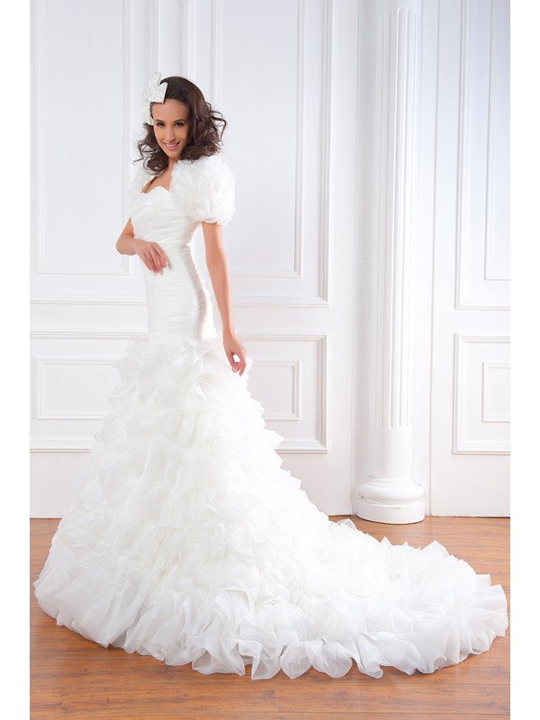 Exquisite Trumpet/Mermaid Strapless Floor-length Tiered Renata's Plus Size Wedding Dress With Jacket/Shawl
