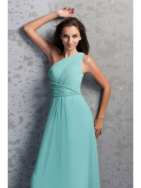 Affordable One-Shoulder Ruched A-Line Floor-Length Miriama's Bridesmaid Dress(Free Shipping)
