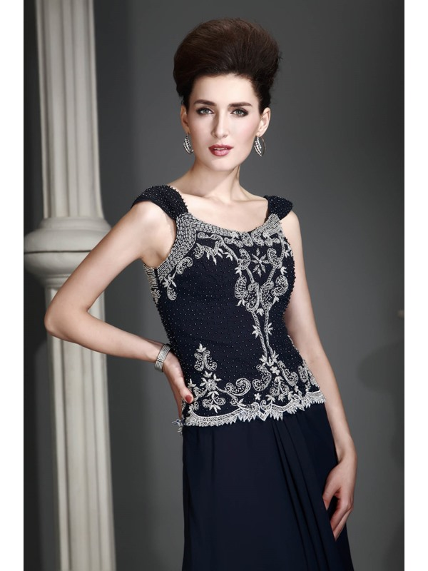Attractive Sheath Square-Neckline Floor-Length Alex's Mother of the Bride Dress