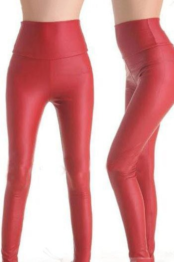 Stylish Red Faux Leather Leggings