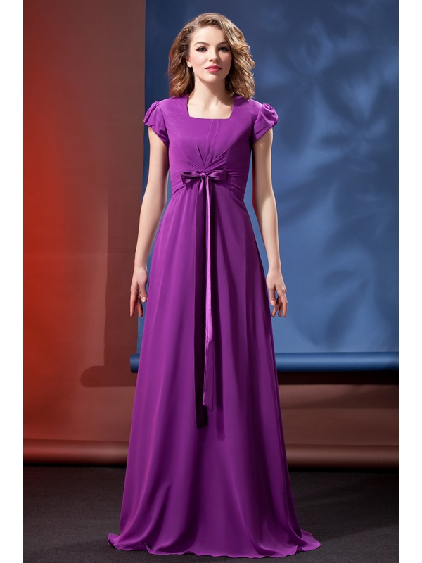 Awesome Column/Sheath Square Short-Sleeve Daria's Bridesmaid Dress