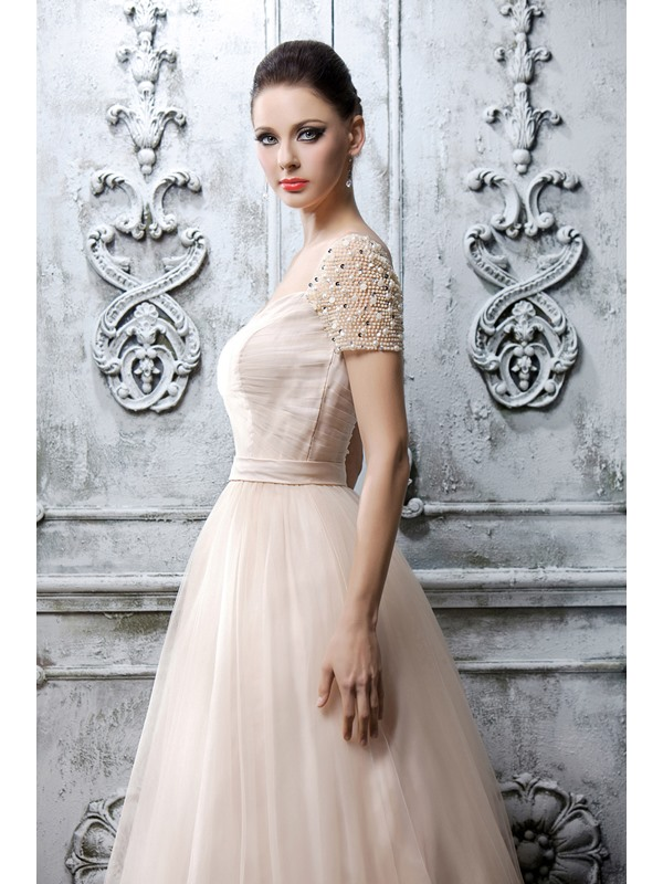 Dramatic A-Line Sweetheart Short Sleeves Pearls Floor-length Polina's Mother Dress