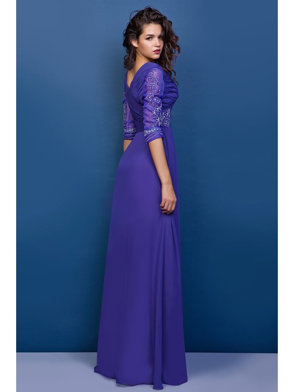 Appliques A-line V-Neck Half Sleeves Floor-Length Juliana's Mother of the Bride Dress