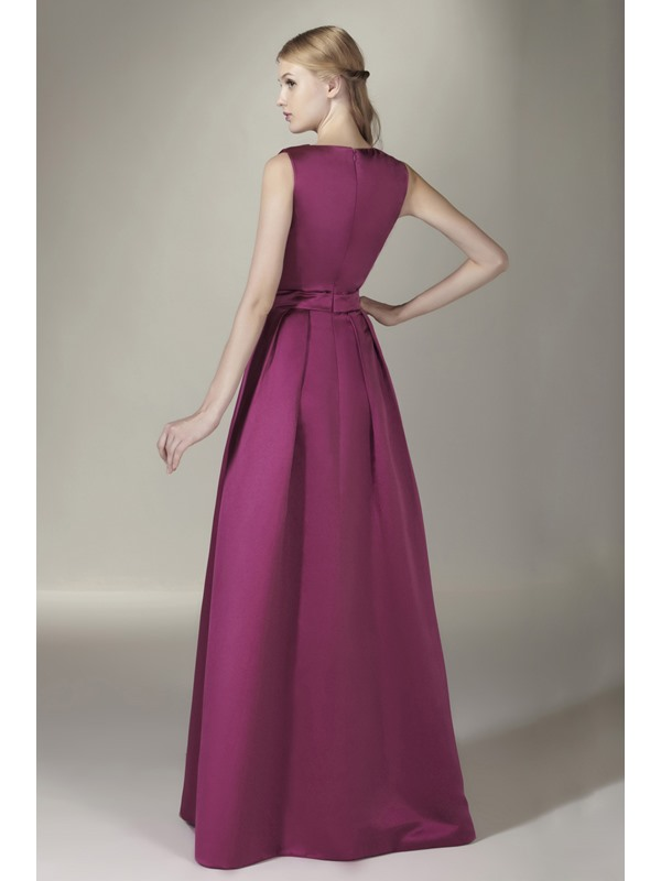 Enchanting Bowknot A-Line V-Neck Floor-Length Sasha's Bridesmaid Dress(Free Shipping)