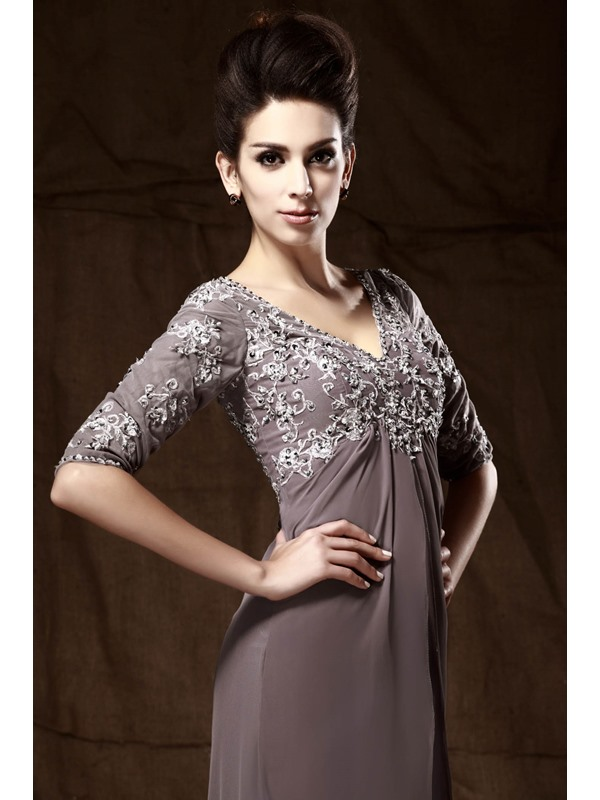 Graceful Appliques A-line V-Neck Half Sleeves Floor-Length Taline's Mother of the Bride Dress(Free Shipping)