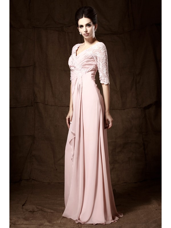Romantic Lace Beaded A-Line Ruched V-Neck Half-Sleeves Floor-length Mother of the Bride Dress