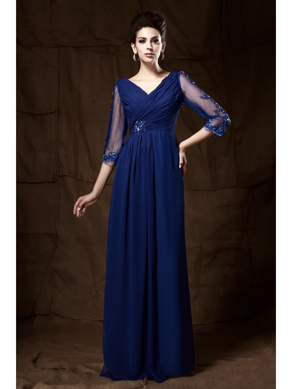 Graceful V-Neck 3/4-Length Sleeves Appliques Floor--length Taline's Mother of the Bride/Evening Dress(Free Shipping)