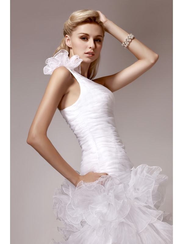 Gorgeous A-line One-Shoulder Tiered Court Train Tiered Dasha's Wedding Dress
