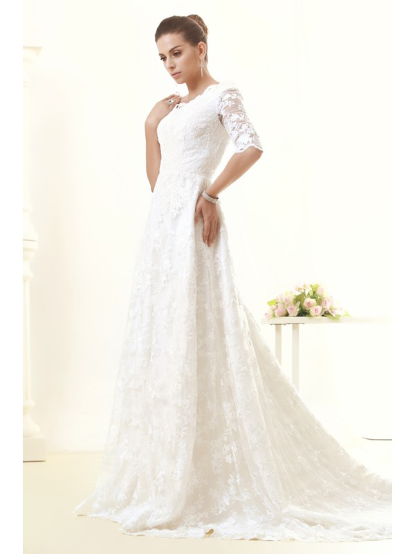 Tempting Pretty 3/4-Length Sleeves Chapel A-Line/Princess Off-the-Shoulder Taline's Wedding Dress