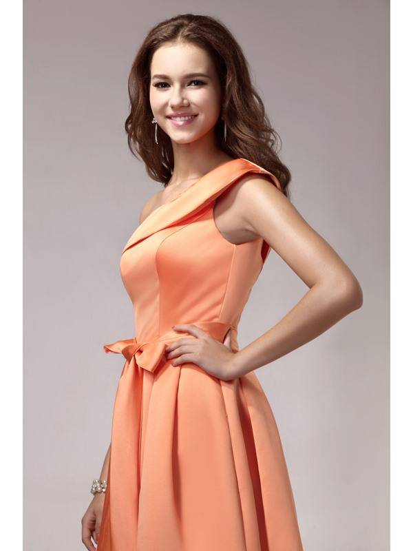 Elegant A-line Knee-Length Sashes One-Shoulder Sandra's Homecoming Dress