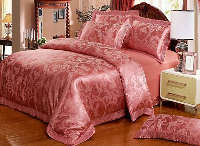 Splendid Brick Red 4 Piece Jacquard Satin Comforter Sets with Beauty Lace